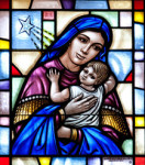 Stainglass of mother and child.